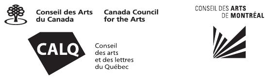 Logos de : Conseil des arts et lettres du Canada, Conseil des arts et lettres du Québec, Conseil des arts de Montréal